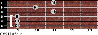 C#9/11#5sus for guitar on frets 9, 9, 9, 11, 10, 11