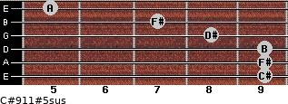 C#9/11#5sus for guitar on frets 9, 9, 9, 8, 7, 5