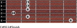 C#9/11#5sus/A for guitar on frets 5, 2, 1, 2, 2, 2