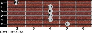 C#9/11#5sus/A for guitar on frets 5, 4, 4, 4, 4, 2
