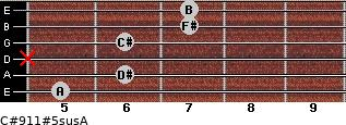 C#9/11#5sus/A for guitar on frets 5, 6, x, 6, 7, 7