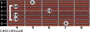 C#9/11#5sus/B for guitar on frets 7, 4, 4, 6, 4, 5