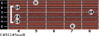 C#9/11#5sus/B for guitar on frets 7, 4, 4, 8, 4, 5