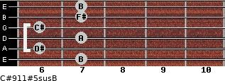 C#9/11#5sus/B for guitar on frets 7, 6, 7, 6, 7, 7