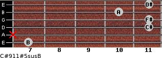 C#9/11#5sus/B for guitar on frets 7, x, 11, 11, 10, 11