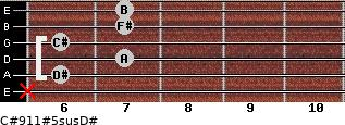 C#9/11#5sus/D# for guitar on frets x, 6, 7, 6, 7, 7