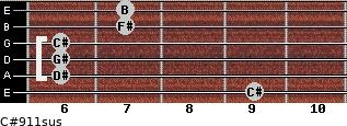C#9/11sus for guitar on frets 9, 6, 6, 6, 7, 7