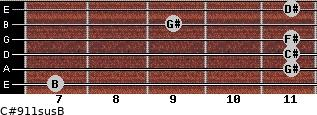 C#9/11sus/B for guitar on frets 7, 11, 11, 11, 9, 11