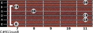 C#9/11sus/B for guitar on frets 7, 11, 11, 8, 7, 11