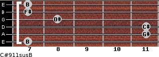 C#9/11sus/B for guitar on frets 7, 11, 11, 8, 7, 7