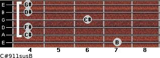 C#9/11sus/B for guitar on frets 7, 4, 4, 6, 4, 4