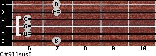 C#9/11sus/B for guitar on frets 7, 6, 6, 6, 7, 7