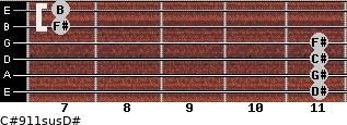 C#9/11sus/D# for guitar on frets 11, 11, 11, 11, 7, 7