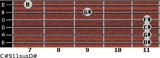 C#9/11sus/D# for guitar on frets 11, 11, 11, 11, 9, 7