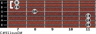 C#9/11sus/D# for guitar on frets 11, 11, 11, 8, 7, 7