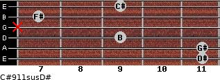 C#9/11sus/D# for guitar on frets 11, 11, 9, x, 7, 9