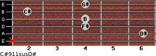 C#9/11sus/D# for guitar on frets x, 6, 4, 4, 2, 4