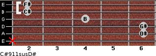 C#9/11sus/D# for guitar on frets x, 6, 6, 4, 2, 2