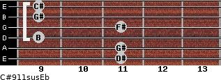 C#9/11sus/Eb for guitar on frets 11, 11, 9, 11, 9, 9