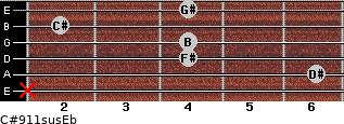 C#9/11sus/Eb for guitar on frets x, 6, 4, 4, 2, 4