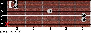 C#9/11sus/Eb for guitar on frets x, 6, 6, 4, 2, 2