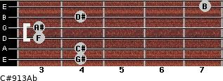 C#9/13/Ab for guitar on frets 4, 4, 3, 3, 4, 7