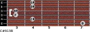 C#9/13/B for guitar on frets 7, 4, 3, 3, 4, 4