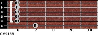 C#9/13/B for guitar on frets 7, 6, 6, 6, 6, 6