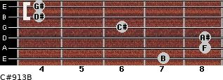 C#9/13/B for guitar on frets 7, 8, 8, 6, 4, 4