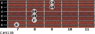 C#9/13/B for guitar on frets 7, 8, 8, 8, 9, 9