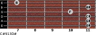 C#9/13/D# for guitar on frets 11, 11, 11, 10, 11, 7