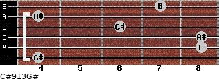 C#9/13/G# for guitar on frets 4, 8, 8, 6, 4, 7