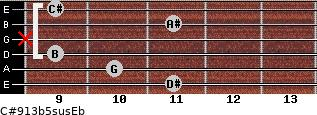C#9/13b5sus/Eb for guitar on frets 11, 10, 9, x, 11, 9