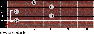 C#9/13b5sus/Eb for guitar on frets x, 6, 8, 6, 8, 7