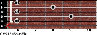 C#9/13b5sus/Eb for guitar on frets x, 6, 9, 6, 8, 6