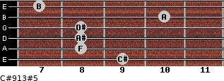 C#9/13#5 for guitar on frets 9, 8, 8, 8, 10, 7