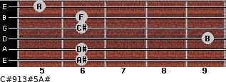 C#9/13#5/A# for guitar on frets 6, 6, 9, 6, 6, 5