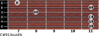 C#9/13sus/Eb for guitar on frets 11, 11, 11, 8, 11, 7