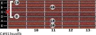 C#9/13sus/Eb for guitar on frets 11, 11, 9, x, 11, 9