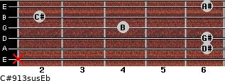 C#9/13sus/Eb for guitar on frets x, 6, 6, 4, 2, 6