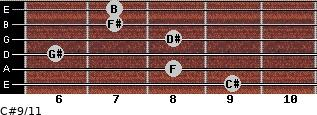 C#9/11 for guitar on frets 9, 8, 6, 8, 7, 7