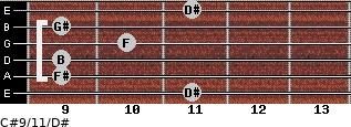C#9/11/D# for guitar on frets 11, 9, 9, 10, 9, 11