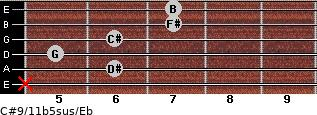 C#9/11b5sus/Eb for guitar on frets x, 6, 5, 6, 7, 7