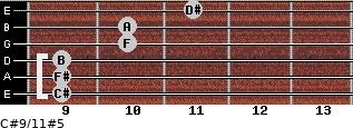 C#9/11#5 for guitar on frets 9, 9, 9, 10, 10, 11