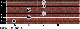 C#9/11#5sus/A for guitar on frets 5, 6, 7, 6, 7, 7