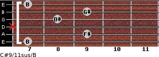 C#9/11sus/B for guitar on frets 7, 9, x, 8, 9, 7