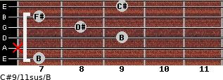 C#9/11sus/B for guitar on frets 7, x, 9, 8, 7, 9