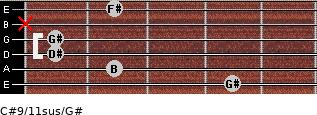 C#9/11sus/G# for guitar on frets 4, 2, 1, 1, x, 2