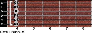 C#9/11sus/G# for guitar on frets 4, 4, 4, 4, 4, 4