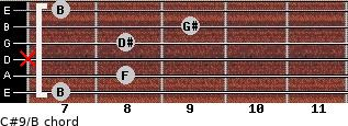C#9/B for guitar on frets 7, 8, x, 8, 9, 7